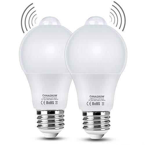 foco con sensor de movimiento, luz blanca cálida y suave, 12 W (equivalente a 120 vatios), luz LED al atardecer al amanecer, sensor de infrarrojos integrado y sensor de luz, E26 1000 lúmenes para interior y exterior
