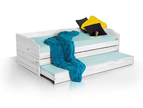 Lena Funktionsbett in 90 x 200 cm Tandemliege Jugendbett und Kinderbett mit Bettkasten Kiefer Weiss inkl. 3 x Lattenrost