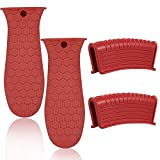 4 Pack Silicone Hot Handle Holder, Silicone Assist Handle Holder Cast Iron Skillet Handle Cover Heat Resistant Hot Pan Handle Holder for Cast Iron Pot Woks Frying Pans Griddles Skillets Oven (Red)