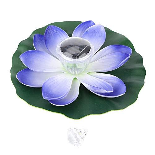Duokon La Piscine Solaire d'étang Allume la Couleur de LED changeant avec la Lampe Flottante imperméable de Fleur de Lotus(Violet)