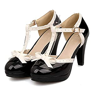 3.2 inches high heel,11 inch wide platform,microfiber inner leather have comfortable feet feeling to make you long standing without sore feet.these shoes offer a timeless silhouette that can complete any look Porous T-straps with ankle buckles make i...