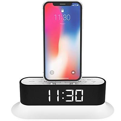 AZATOM Chronos 2 Lightning Dock Speaker for iPhone Xs Max, Xs, Xr, X, 8, 8 plus, 7plus, 7, 6s, 6, 5s, 5, 5c, SE, iPod Touch Nano - FM Radio Dual Alarm Clock - Docking station (White) by Azatom®