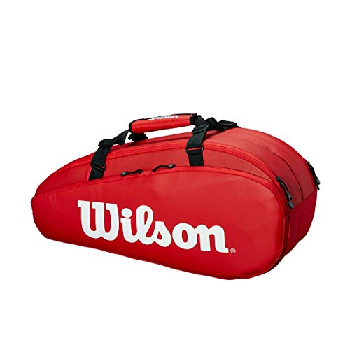 Wilson Tour 2 Comp Small Bolsa de tenis, para hasta 6 raquetas, unisex, rojo