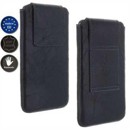 andyhandyshop Echt Ledertasche für Samsung Galaxy A11 A71 A42 Handy mit Rausziehband Case Etui Wallet 4XL schwarz