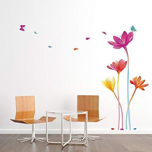 Stickers adhésifs Fleurs | Sticker Autocollant Fleurs et Papillons Arc-en-Ciel - Décoration Murale Chambres et séjours | 70 x 50 cm