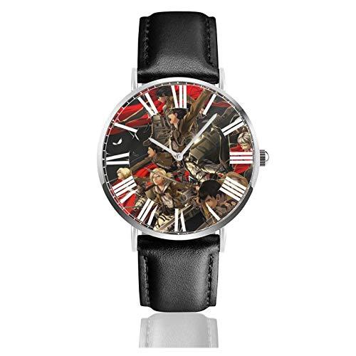 Reloj de Pulsera Attack on Titan Durable PU Correa de Cuero Relojes de Negocios de Cuarzo Reloj de Pulsera Informal Unisex