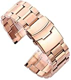 chenghuax Pulsera de la Banda de Reloj de Metal 18 20 22 24mm Silver Silver Cepillado Acero Inoxidable Relojes Relojes Reemplazar Accesorios Reloj Correa (Color : Gold, Size : 20mm)