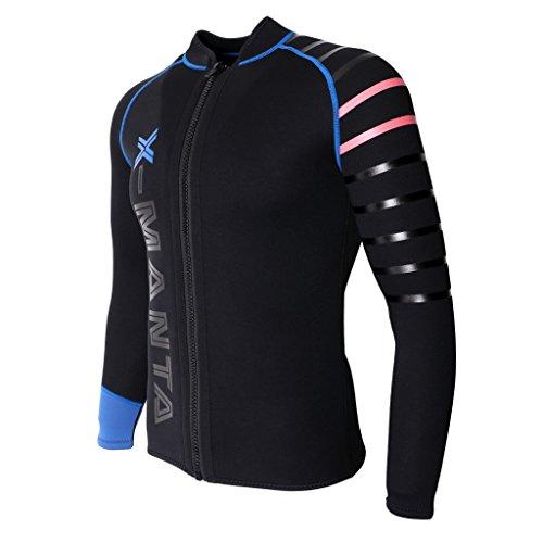 IPOTCH Herren Damen 3mm Neoprenanzug Jacke UV Schutz Wetsuit Badeanzug Badebekleidung Wassersport Anzug Oberteile - Schwarz, M