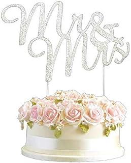 CRISTAL monogran Marriage Figurien pour gâteau Mr & Mrs Strass Diamant Argent Fiancée Bling gâteau décoration anniversaire...