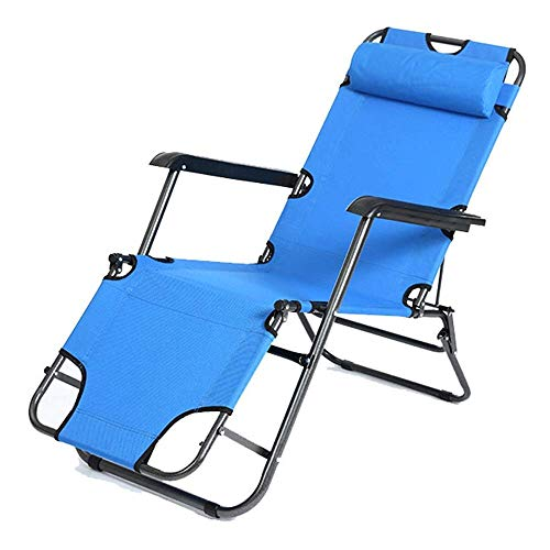 ShiSyan Y-LKUN Folding Chair Beach Sun Loungers Courtyard Garden Outdoor Camping Folding Chair Zero Gravity for Home Office Dining (Color : Blue, Size : 178 59 25cm)