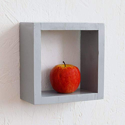 Wall shelf Wooden floating shelves Display unit cube box square small silver