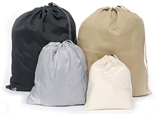 HOPEVILLE Packbeutel-Set 4-teilig, Organizer Beutel für Koffer, Rucksack und Reisetasche, Premium Reisebeutel Set als Schuhbeutel, Wäschebeutel oder...