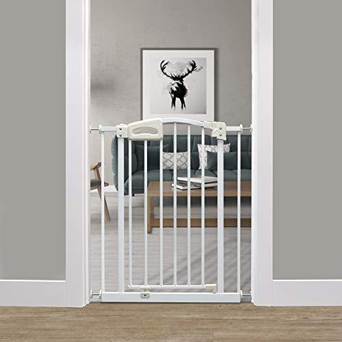 Callowesse® CARUSI - Schmales Tür- und Treppenschutzgitter 63-70 cm. Selbstschließendes System. Einhändige Öffnung. (Weiß)