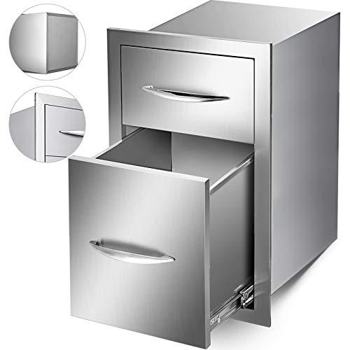 Mophorn cassetto della cucina in acciaio INOX barbecue all' aperto con maniglia cromata montaggio a filo Sliver, Double Access Drawer, 13x20.4x20.8 Inch