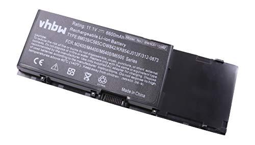 vhbw Li-ION Batterie 6600mAh (11.1V) pour Ordinateur Portable, Notebook Dell Precision M2400, M4400, M6400, M6500 comme 05K145, 0DW554.