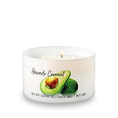Bath and Body Works White Barn 3 Wick Large Low Profile Scented Candle Avocado Coconut 14.5 Ounce with Essential Oils