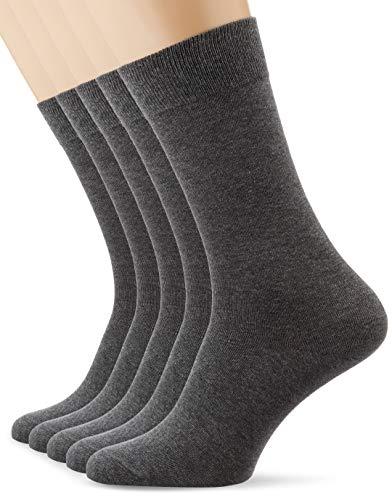 Amazon-Marke: MERAKI Ilna5527 Socken 5er Packung, Grau (Heather Grey), 43-45 EU, Label: 9-11 UK