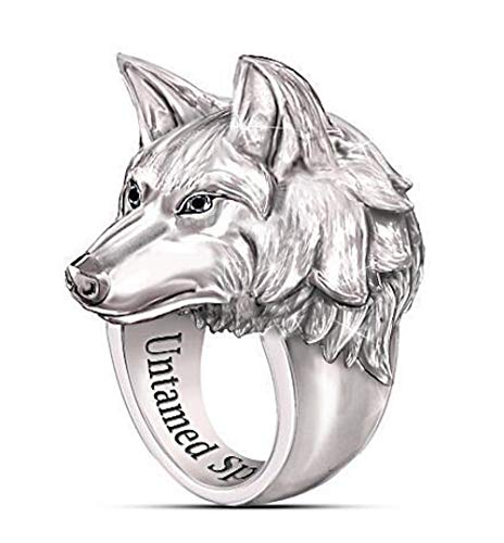 Men's Ring Norse Viking Nordic Wolf Head Rings For Men Fenrir Wolf Ring Stands For Untamed Spirit Stainless Steel Creative Retro Wolf Totem Amulet Ring Vintage Animal Jewelry Best Gift (12)
