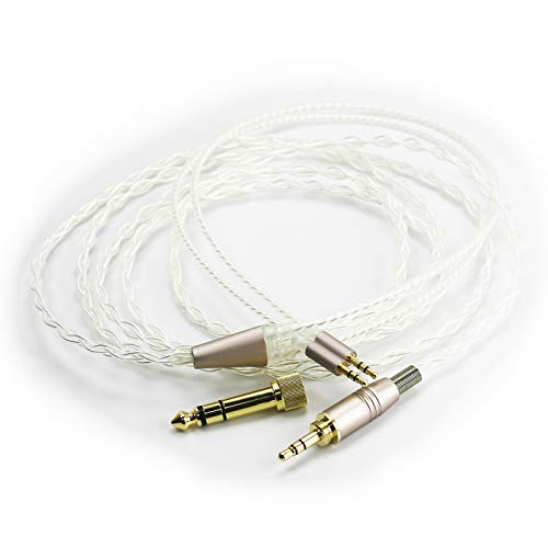 NewFantasia Silver Plated Replacement Cable with Dual 2.5mm Male to 3.5mm 1 8  Male and 6.3mm 1 4  Adapter Compatible with HE400S, HE-400I, HE-400i(2.5mm Plug Version), HE560, HE1000 Headphone