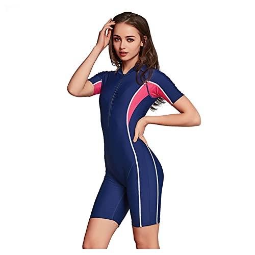 Frauen Tauchen Anzüge, Patchwork Kurzarm Sonnenschutz Shorty Swimwear Tauchanzug Neoprenanzug Reißverschluss Scuba Schnorchelanzug (Color : Blue, Size : M)