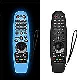 AIYAAIYA 2 PCS Estuche Protector Remote Control para LG Smart TV,Funda de Silicona para AN-MR600/ AN-MR650/ AN-MR18BA/ AN-MR19BA,Anticaída/Antideslizante/Rayado/Polvo/Impermeable (Azul + Negro)
