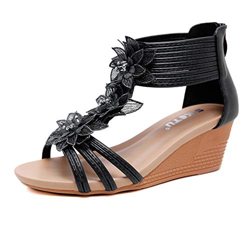 Sandalias de verano para mujer, estilo Holiday Beach Seaside cómodas zapatillas romanos casuales, 123, negro, 38