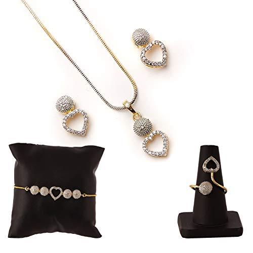 Zeneme American Diamond Traditional Fashion Jewellery Combo of Necklace Pendant Set/Ring/Bracelet with...