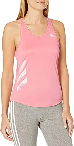 adidas 3-Stripes Personal Best Run It Tank Camisa, Señal Rosa, Large para Mujer