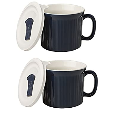 CorningWare Colours Pop-Ins 20-oz Mug w/ Vented Lid - 2 Pack (Midnight Blue)
