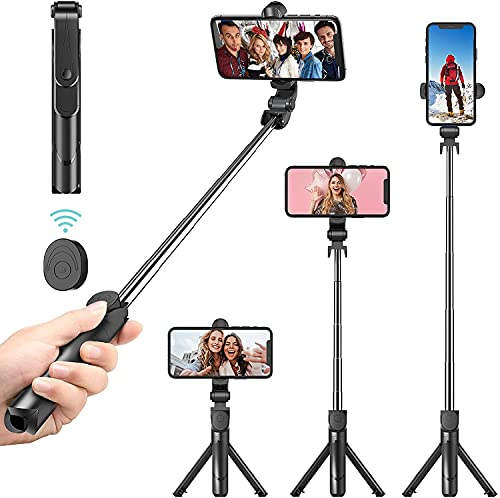 EYUVAA LABEL Triple Function Selfie Stick with Bluetooth Remote & Tripod Mobile Stand, Extendable Tripod Stick & Portable Tripod for All Smartphones (Black)
