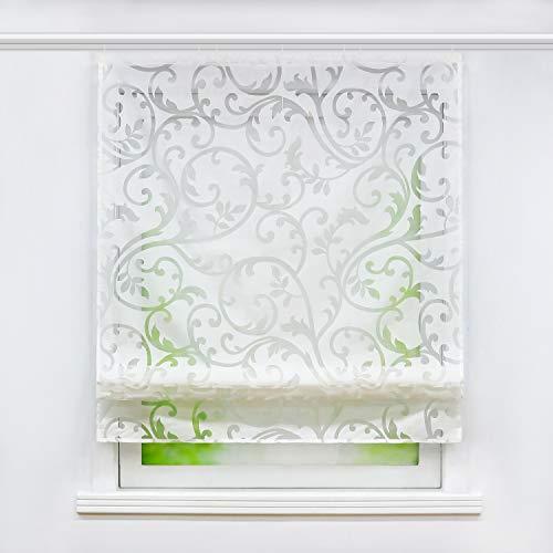 Joyswahl Voile Raffrollo mit Klettschiene Romantsiches Ausbrenner Design mit Druck Raffgardine Schals Fenster Vorhänge BxH 100x140cm Weiß 1er Pack