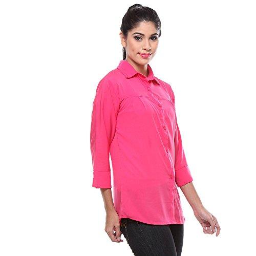 Teemoods Women's Crepe Casual Solid Dark Pink Shirt