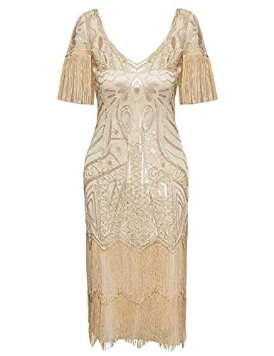 Coucoland Vestido de mujer de los aos 20, con flecos, mangas hasta la rodilla, vestido de lentejuelas de los aos 20, Great Gatsby, cctel, fiesta, disfraz de mujer albaricoque XS