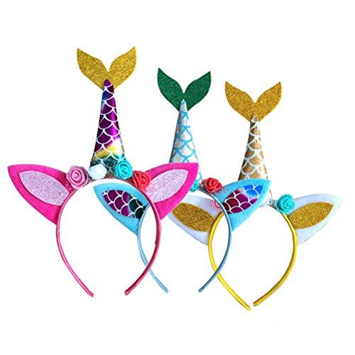 3 diademas lindas diademas de unicornio, sirena, accesorios para el pelo, fiestas de baile de mscaras, color rojo, amarillo y azul