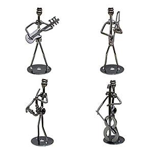 Vosarea 4pcs Vintage creativo hierro arte metal música figura escritorio música decoración(Random mode)