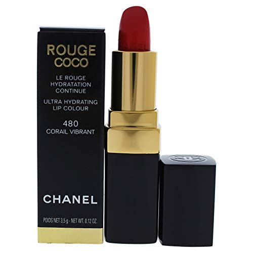 Chanel Rouge Coco Ultra Hydrating Lip Colour 480 Corail Vibrant for Women, 0.12 Ounce