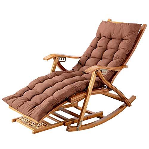 Sillón reclinable con respaldo alto, sillón reclinable de bambú, plegable, tumbonas de gravedad cero con almohadilla de algodón, peso de rodamiento 200 kg para viajes en interiores y exteriores