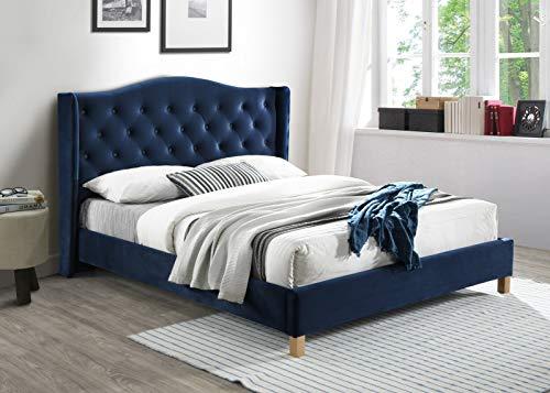 Cama tapizada de terciopelo Oana | Cabecero acolchado | Cama con soporte de colchón de madera | Fácil montaje, azul marino + lencería adicional