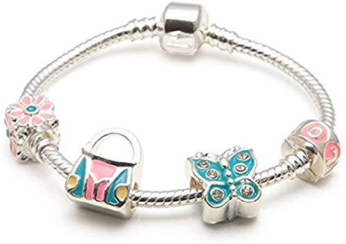Mädchen Geschenk Schmetterling Paradies versilbert Bettelarmband. Geschenk für Mädchen. 5, 6, 7 oder 8 Jahre alt. 16cm