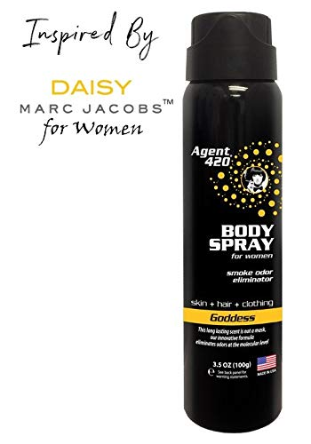 Agent 420 Daily Fragrance Body Spray - Smell Your Best All Day Long, Breaks Down and Destroys Smoke Odor at The Molecular Level - Eliminates Odors from Hair, Body and Clothes - 3.5 oz Spray (Goddess)