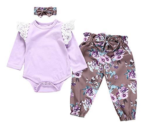 Jurebecia Ropa Bebe Niña Conjuntos Bebe Niña Recien Nacido Bebé con Capucha Floral Sudadera Tops Pantalones Ropa Trajes Morado 3-6 Meses