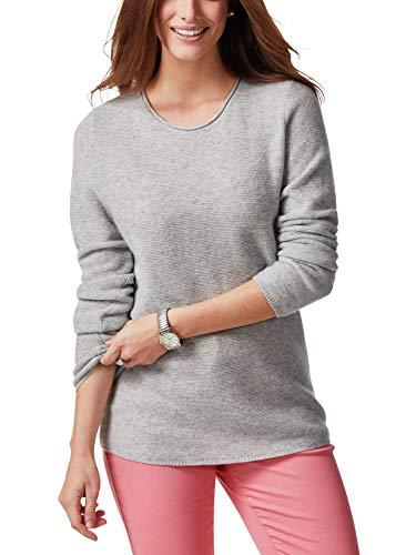 Walbusch Damen Cashmere Leicht Pullover einfarbig Grau Melange 48