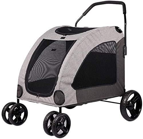 LAZ Haustier-Kinderwagen für Hunde, 4 Räder, für mittelgroße und große Hunde, zusammenklappbar, Tragkraft bis zu 60 kg (Farbe: Grau)