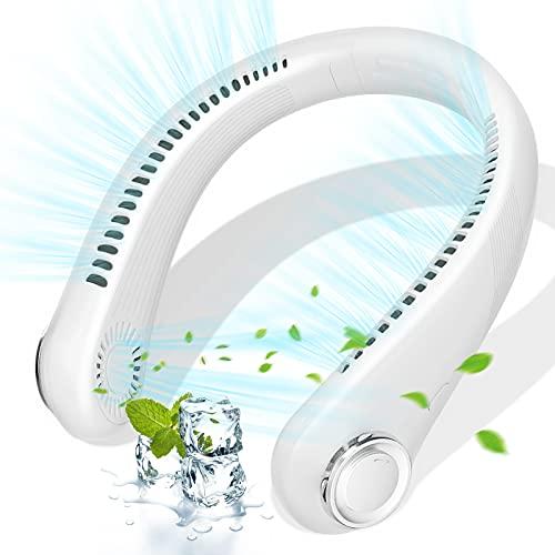 Ventilador Portatil, Ventilador Cuello, Ventilador USB Recargable Mini Ventilador de Manos Libres, 360°con Doble Cabeza de Viento de 3 velocidades Adecuado para Oficina, Hogar, Viajes, Deporte(Blanco)