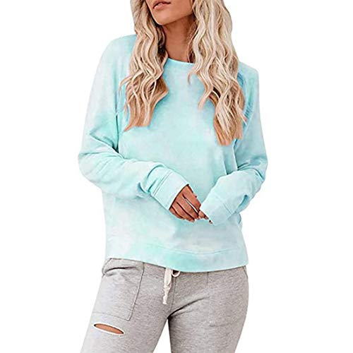 Damen Pullover T-Shirt Lange Ärmel Rundhals Loose Gemütlich Sweatshirt Frühling,...