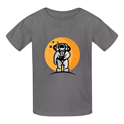 Camiseta de algodón con cuello redondo para niños y niñas, diseño de astronauta en la luna