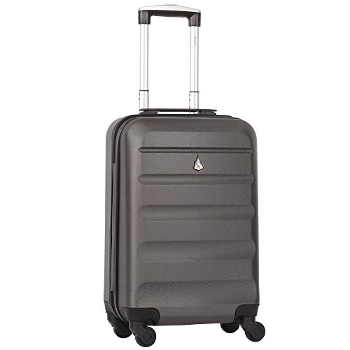 Aerolite 55x35x20cm Lightweight ABS Hard Shell Travel Carry On Cabin Hand Luggage Suitcase with 4 Wheels, Approved for Ryanair, Easyjet, British Airways, Virgin Atlantic and More, Graphite
