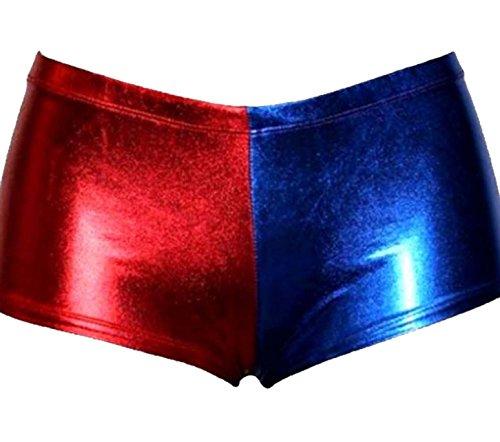 Damen Metallic Harley Quinn Suicide Squad Disco Short Shiny Hot Pants Gr. 42-44, Rot/Blau Hot Pant