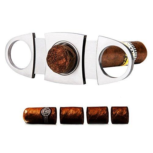Hauser Zigarrenschneider, Zigarrencutter, Doppelte Klinge Zigarrenschere, Edelstahl Cutter für die meisten Größe Von Zigarren, Silber - 3