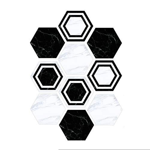 WGG Pegatinas hexagonales antideslizantes para piso de baño y cocina, resistentes al agua (paquete de 10) DIY pegar en azulejos del suelo (color: estilo blanco y negro)